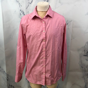 Lands' End Pink Stripe Supima Button Up Shirt